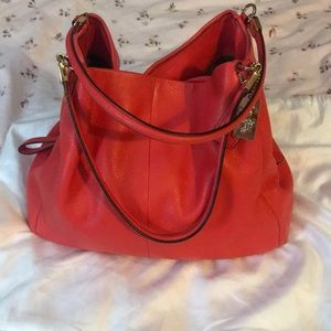 Red coach leather shoulder bag